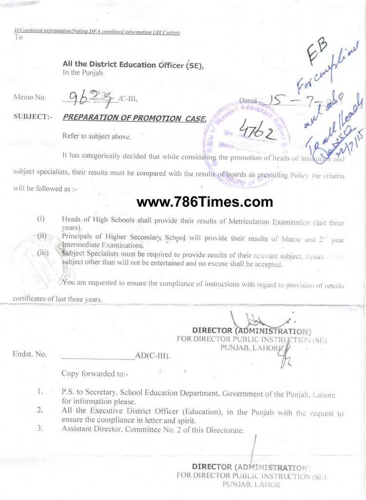 PREPARATION OF PROMOTION CASE in SCHOOL EDUCATION DEPARTMENT PUNJAB