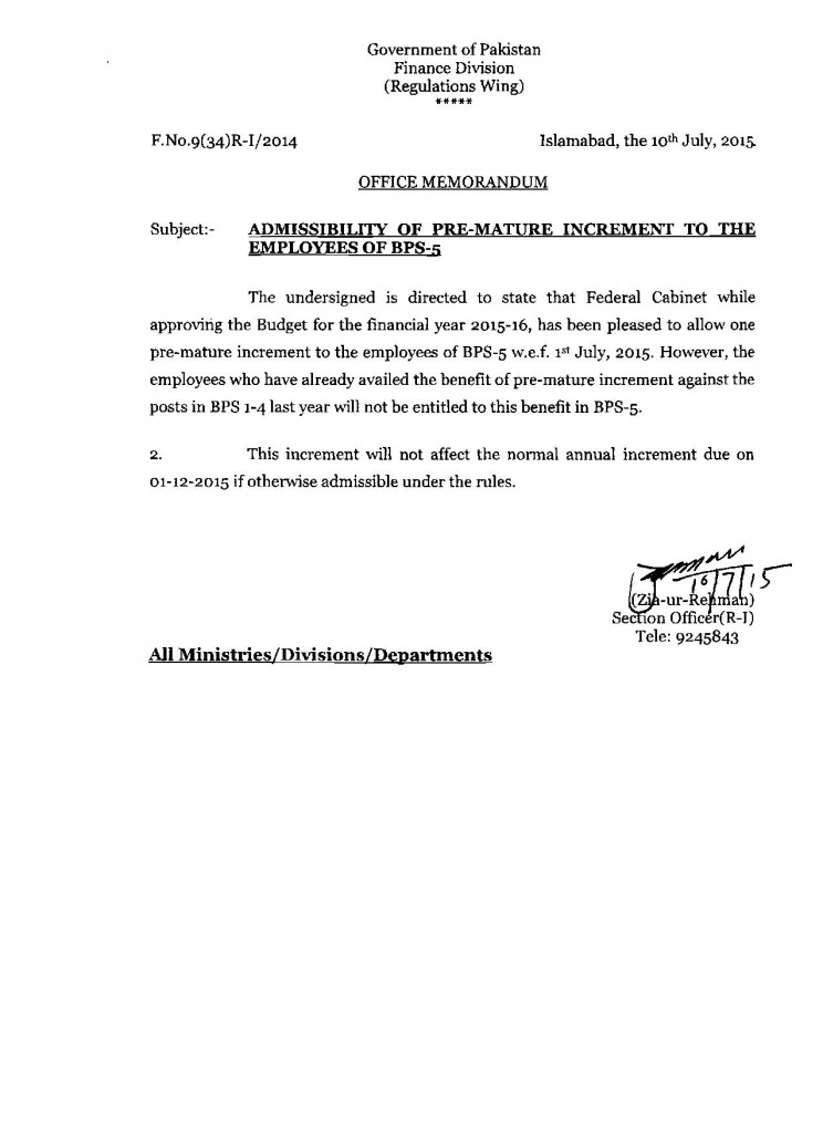 ADMISSIBILITY OF PRE MATURE INCREMENT TO THE EMPLOYEES OF BPS-5
