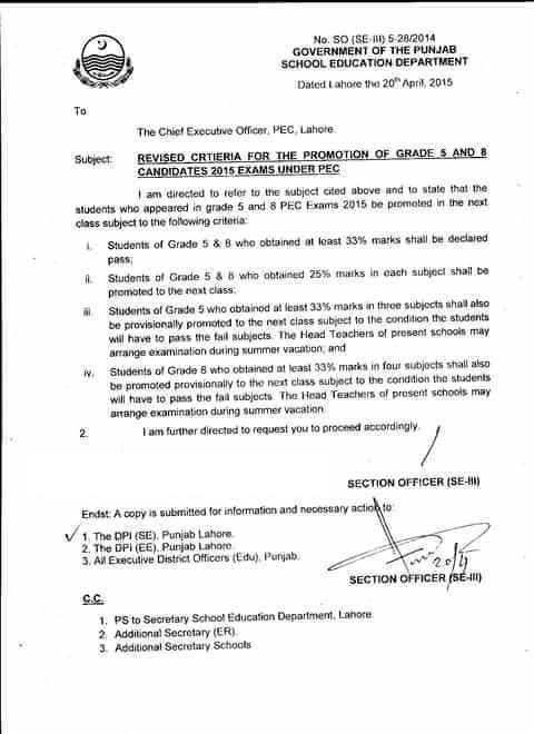 Revised Criteria for the Promotion of Grade 5 and 8 Candidates 2015 Exam under PEC