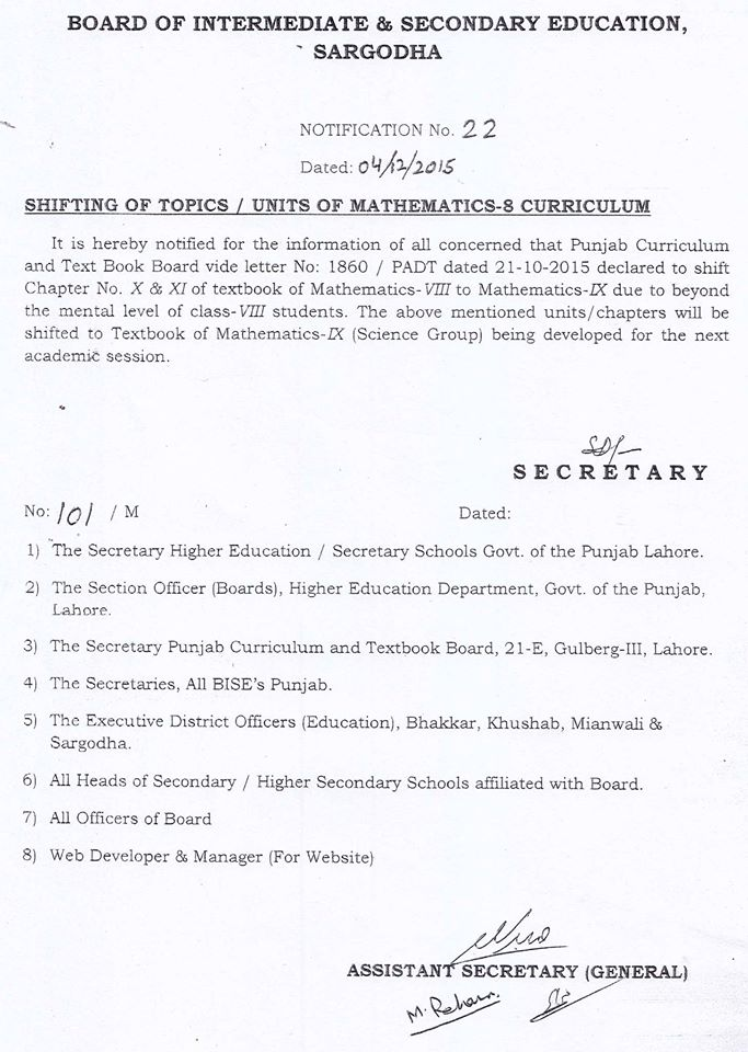SHIFTING OF TOPICS UNITS OF MATHEMATICS-8 CURRICULUM
