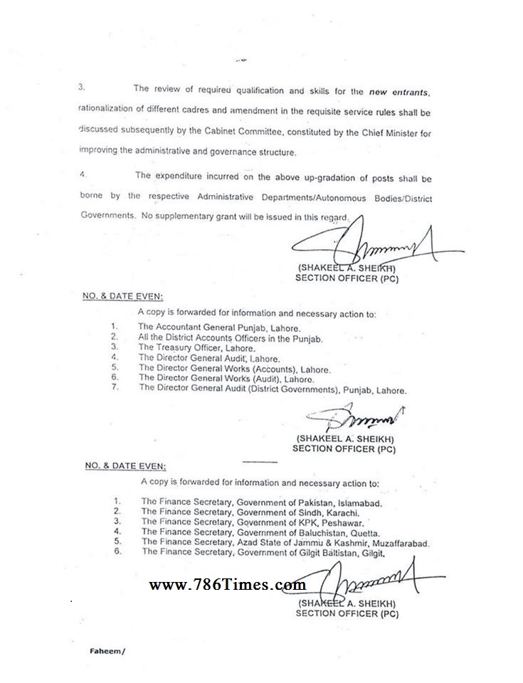 UPGRADATION OF THE POSTS OF CLERKs Notification issued