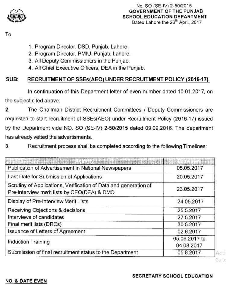 RECRUITMENT OF SSE(AEO) UNDER RECRUITMENT POLICY 2016-2017
