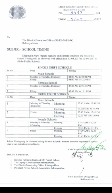 School Timing change in District Rahim Yar Khan notification from April 3 2017