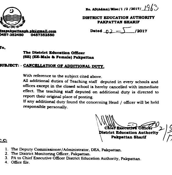 Cancellation of Additional duty in education department