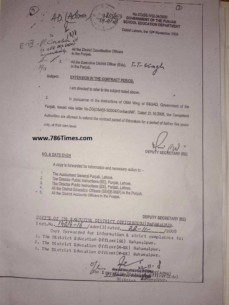 Extension in contract period of Educators