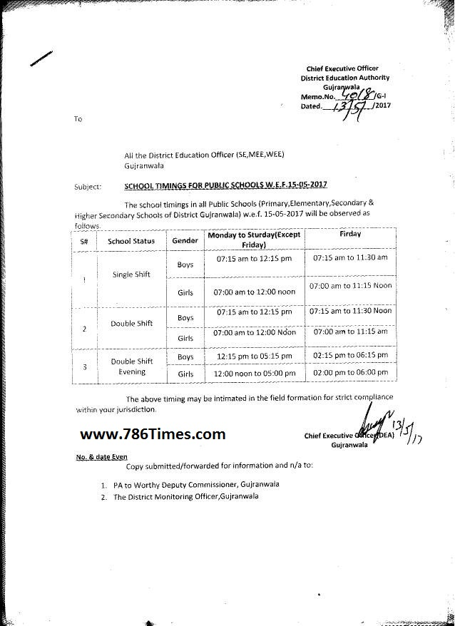 SCHOOL TIMING CHANGED FROM 15-05-2017 IN PUNJAB