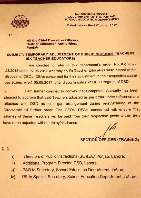 TEMPORARY ADJUSTMENT OF PUBLIC SCHOOL TEACHERS EX TEACHER EDUCATORS