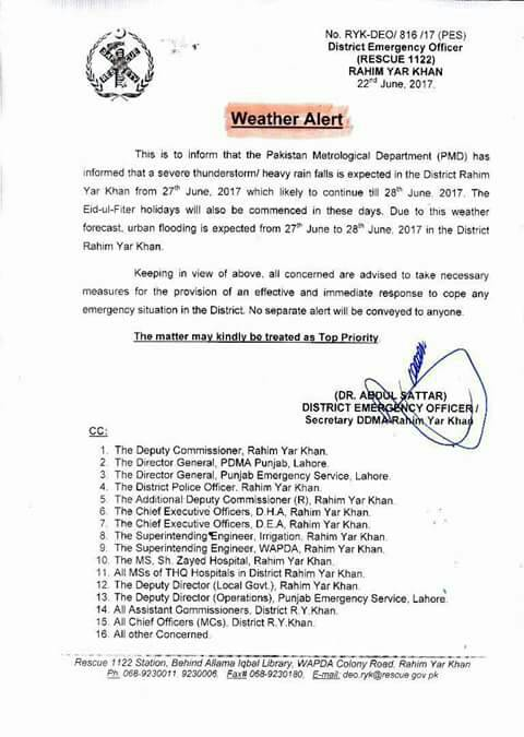 THUNDERSTORM HEAVY RAIN FALLS EXPECTED IN DISTRICT RAHIM YAR KHAN