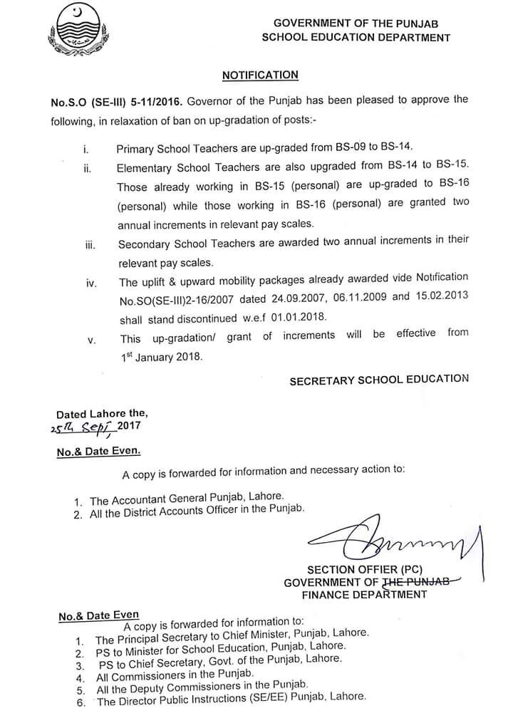 UPGRADATION NOTIFICATION FOR TEACHERS ISSUED BY SECRETARY