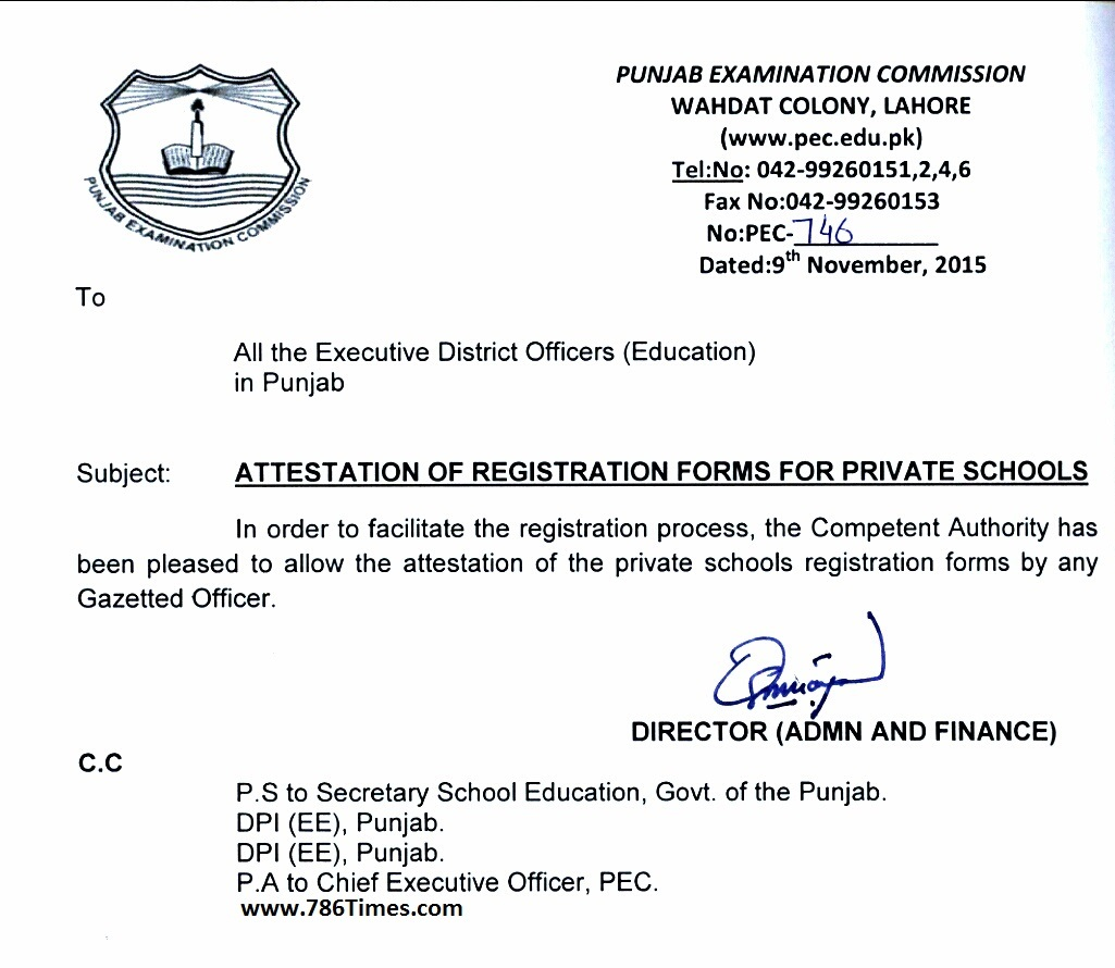 Attestation Of Pec Registration Forms For Private Schools Annual