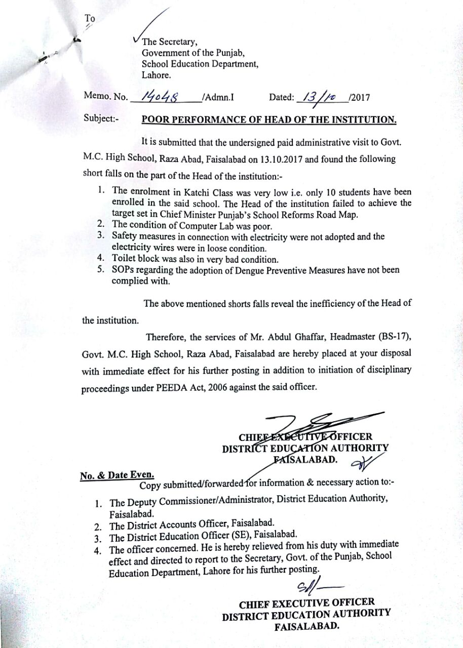 POOR PERFORMANCE OF HEAD OF THE INSTITUTION GBHS RAZA ABAD FAISALABAD