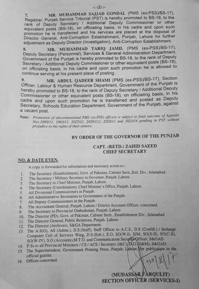 POSTING OF DEPUTY SECRETARIES IN ESTABLISHMENT GOVT OF THE PUNJAB