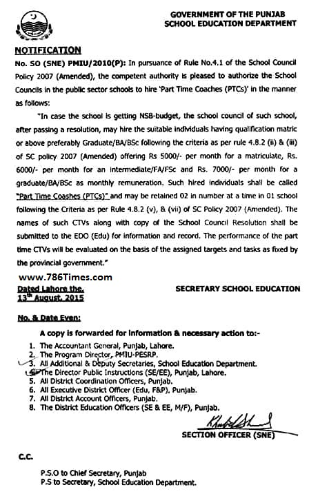 PUBLIC SECTOR SCHOOLS HIRED PART TIME COACHES TEACHERS IN PUNJAB-786Times.com