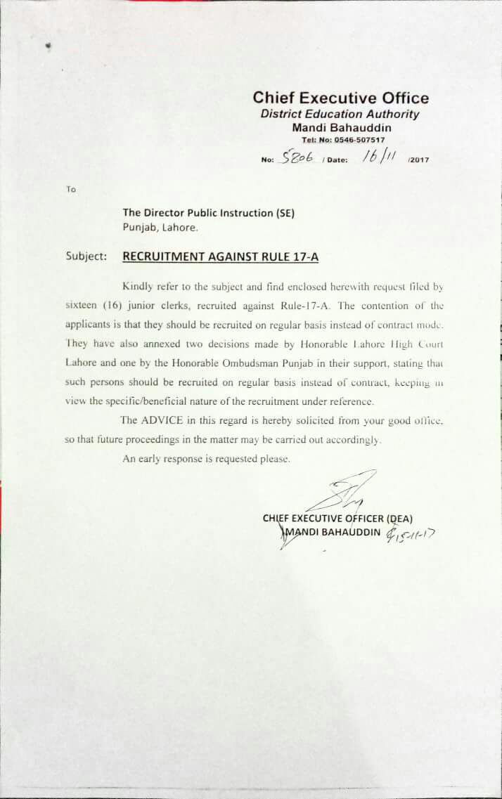 RECRUITMENT AGAINST RULE 17-A AS REGULAR APPOINTMENT