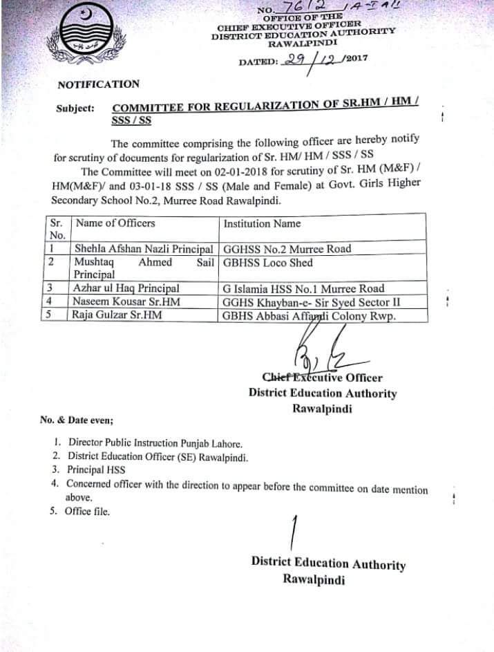 COMMITTEE FOR REGULARIZATION OF SENIOR HM HM SSS SS