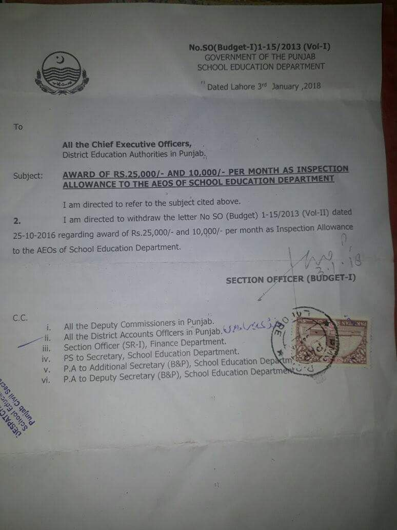 GOVT OF THE PUNJAB WITHDRAW THE LETTER OF INSPECTION ALLOWANCE OF ASSISTANT EDUCATION OFFICERS