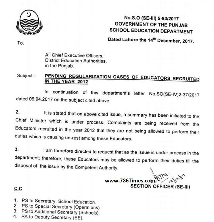 PENDING REGULARIZATION CASES OF EDUCATORS RECRUITED IN THE YEAR 2012