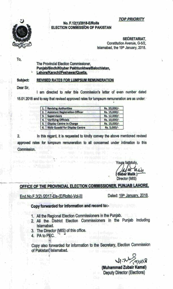 REVISED RATES FOR LUMPSUM REMUNERATION FOR ELECTION COMMISSION OF PAKISTAN