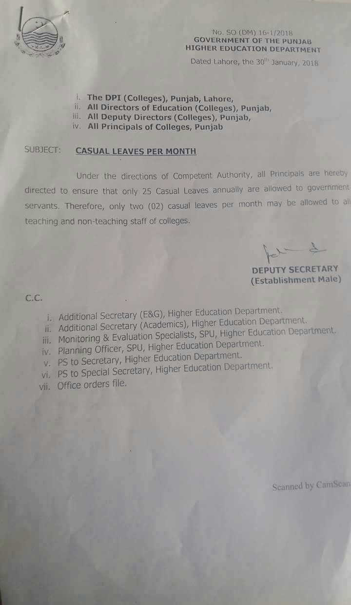 2 CASUAL LEAVES PER MONTH ALLOWED TO TEACHING AND NON TEACHING STAFF IN COLLEGES