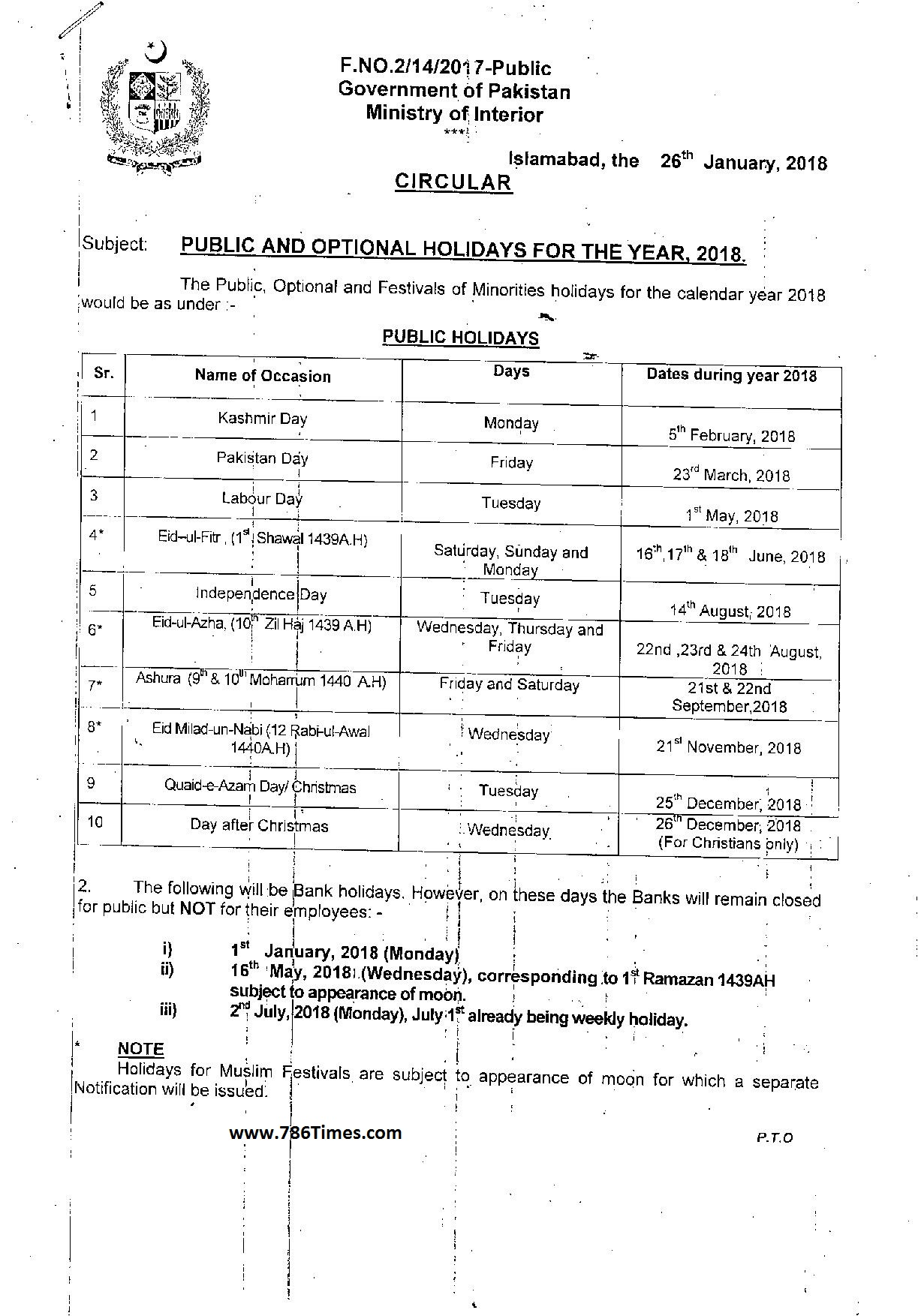 Government announced public and optional holidays in 2018 page 1