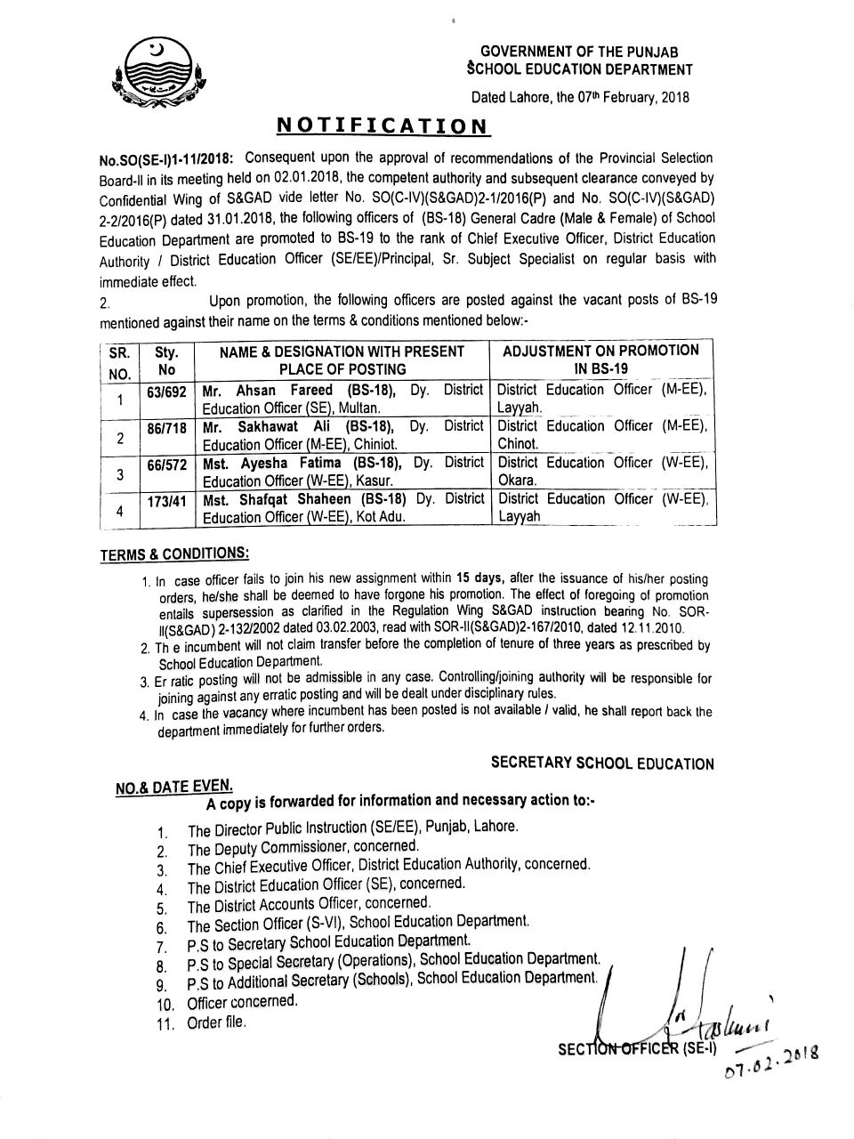 PROMOTION OF DEPUTY DEO AS DEO IN PUNJAB SCHOOL EDUCATION DEPARTMENT