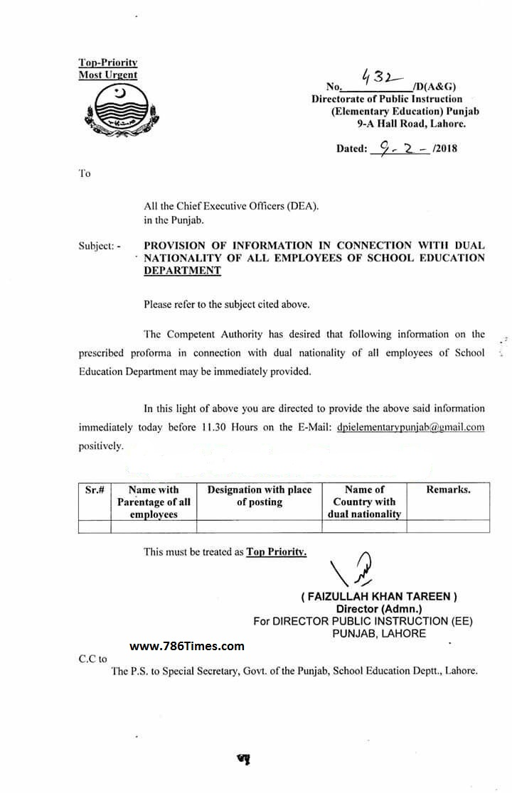 PROVISION OF INFORMATION IN CONNECTION WITH DUAL NATIONALITY OF ALL EMPLOYEES