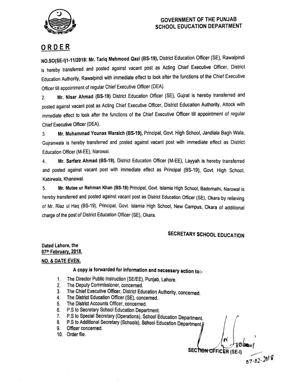 TRANSFER AND POSTING OF CEO DEO IN PUNJAB SCHOOL EDUCATION DEPARTMENT