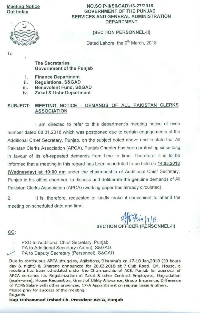 MEETING NOTICE WITH ADDITIONAL CHIEF SECRETARY- DEMANDS OF APCA