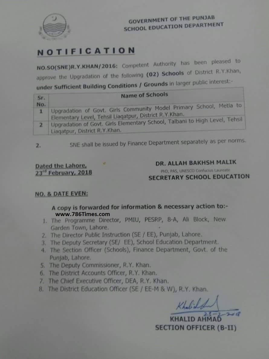 Upgradation of Primary and Elementary Schools in Liaquat Pur