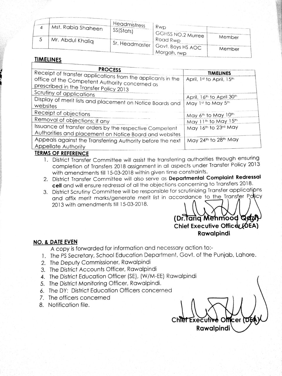 CONSTITUTION OF COMMITTEE'S FOR TRANSFERS 2018 IN RAWALPINDI