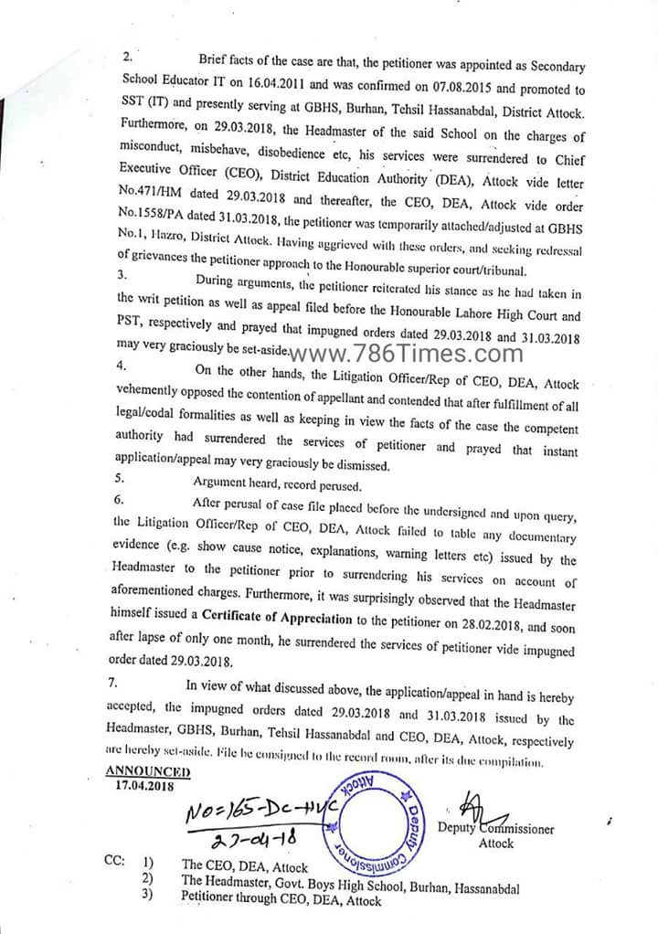 SST SURRENDERED ORDERS REJECTED BY DY. COMMISSIONER ATTOCK