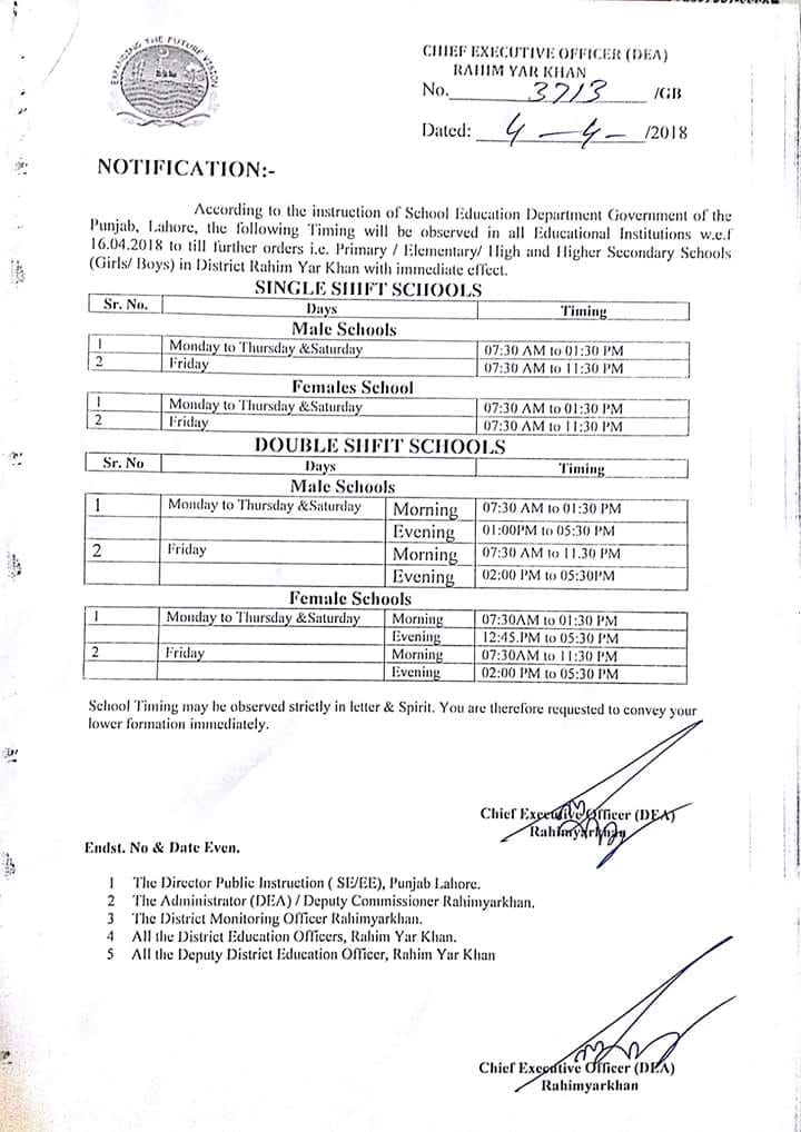 SCHOOL TIMING CHANGED IN DISTRICT RAHIM YAR KHAN