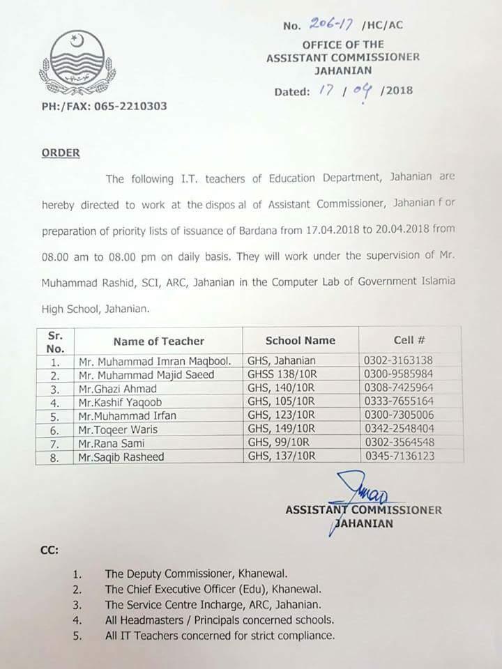 Teachers make Bardana List in Tahsil  Jahanian Punjab