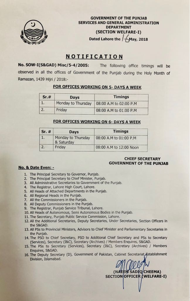 OFFICE TIMING DURING HOLY MONTH OF RAMZAN IN PUNJAB