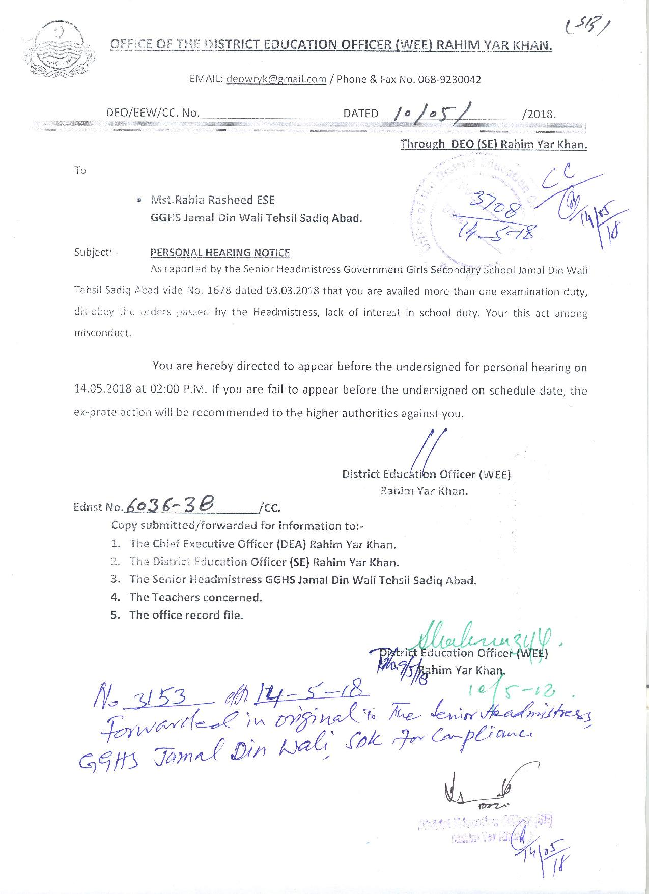 PEEDA ACT 2006 ON TEACHERS FINAL DECISION BY EDUCATION DEPARTMENT