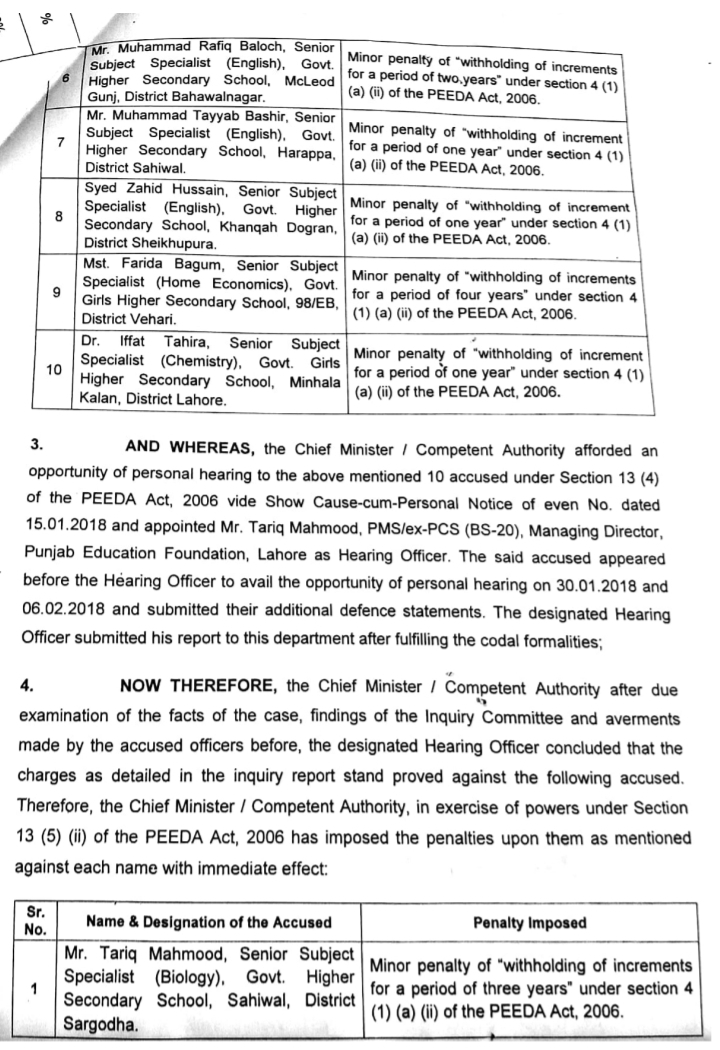 PEEDA ACT 2006 ON POOR RESULT OF SSC 2016 IN RESPECTIVE SUBJECTS