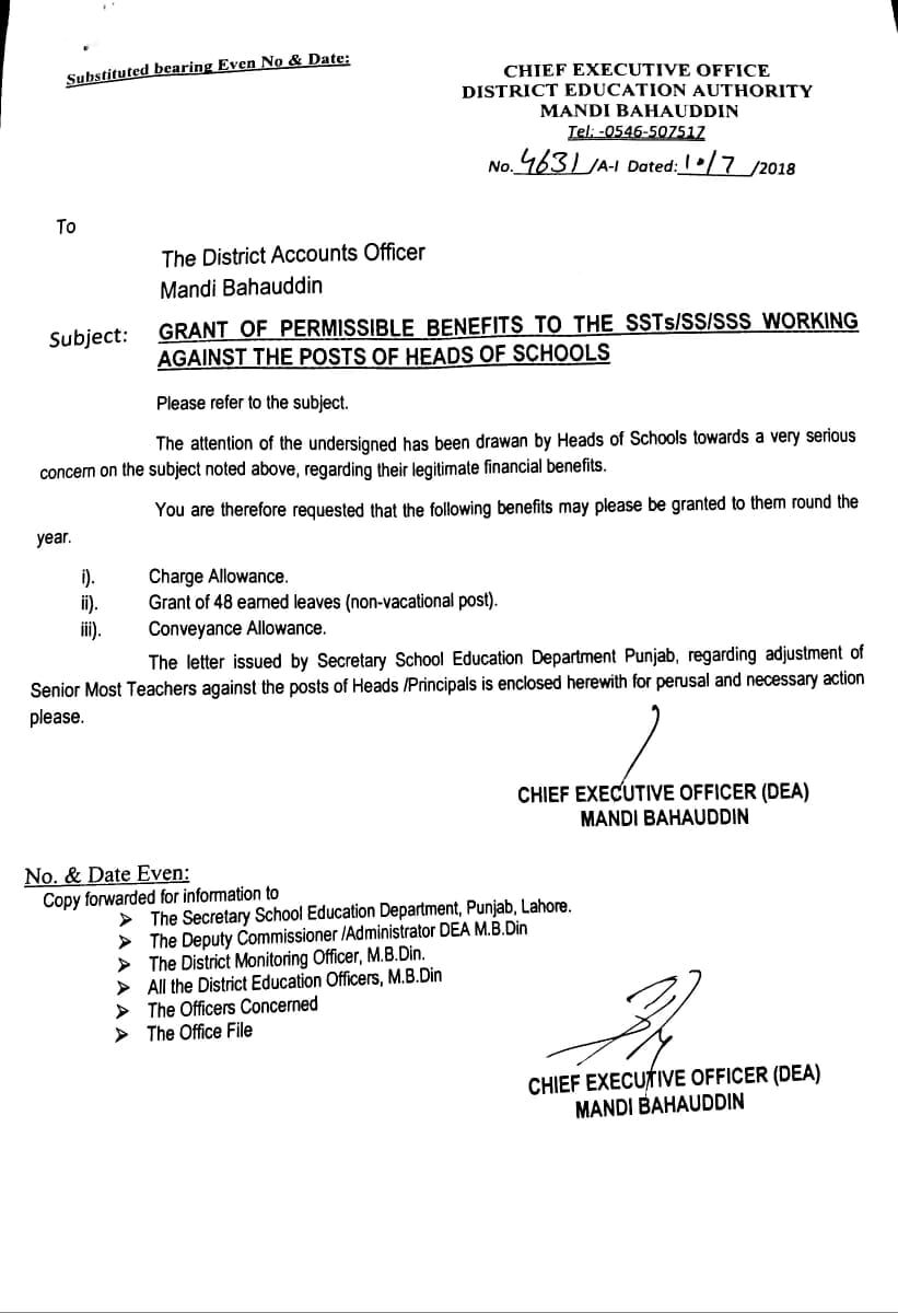 GRANT OF PERMISSIBLE BENEFITS TO SST SS SSS working against POSTS OF Head OF SCHOOLS