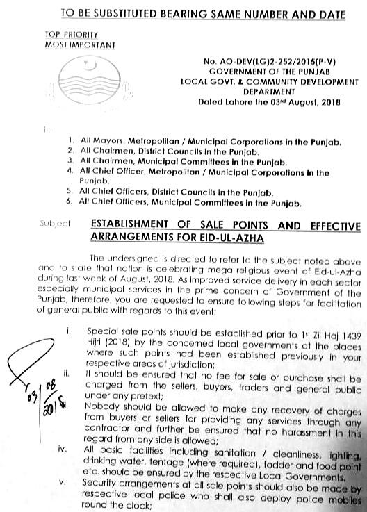 ESTABLISHMENT sale points & effective arrangements for EID UL AZHA