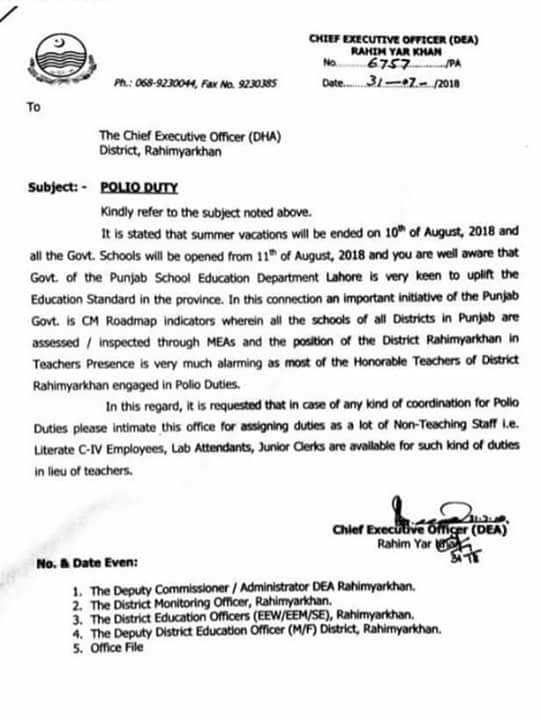 Teachers exempted from Polio duty in RAHIM YARKHAN