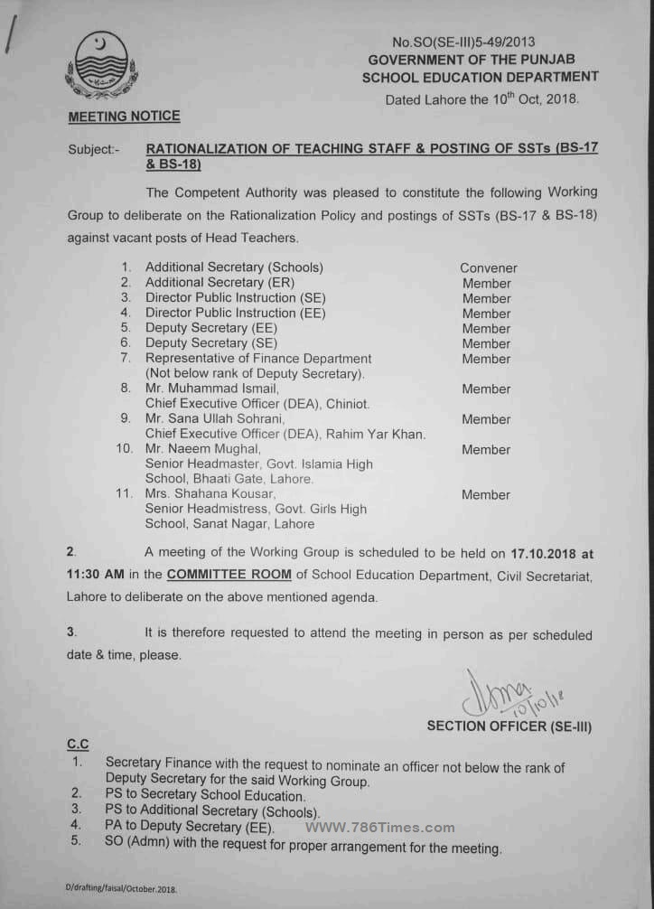 RATIONALIZATION OF TEACHING STAFF & POSTING OF SSTs (BPS-17 & BPS-18)