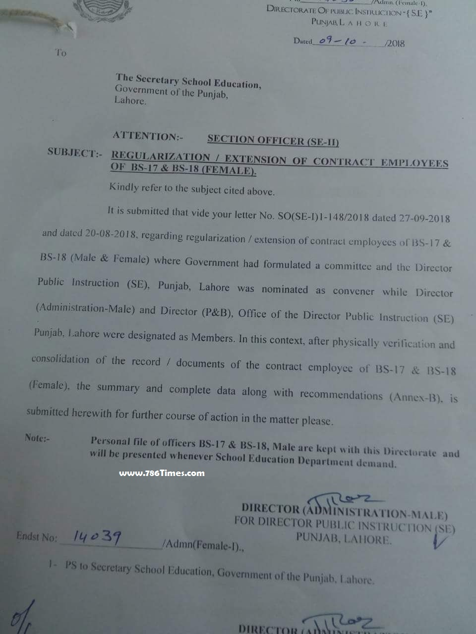 REGULARIZATION EXTENSION OF CONTRACT EMPLOYEES BPS-17 & BPS-18 ( FEMALES )