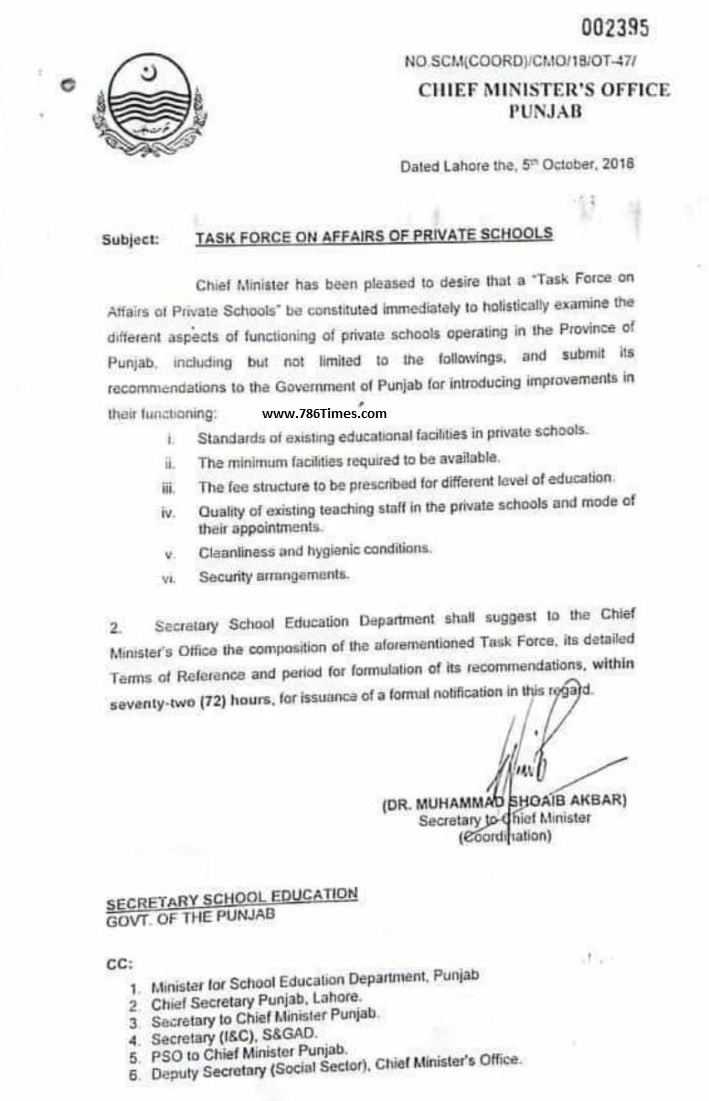 TASK FORCE ON AFFAIRS OF PRIVATE SCHOOLS IN PUNJAB BY CM PUNJAB