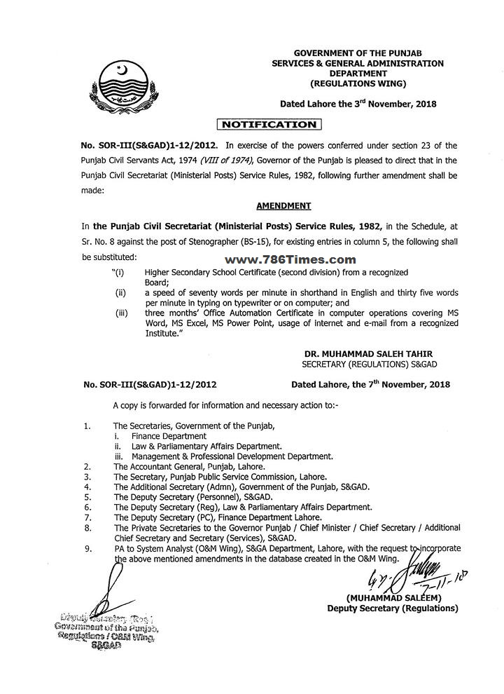 Amendments rules in BASIC QUALIFICATION FOR post of Stenographer