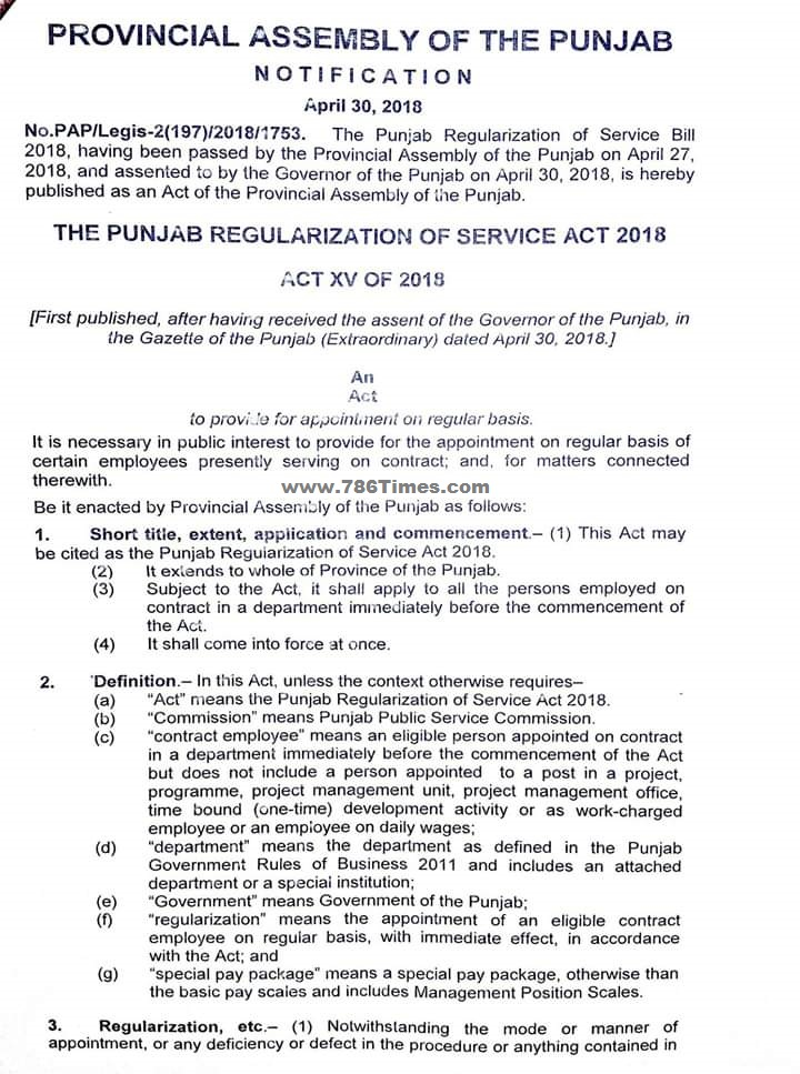 Punjab Regularization of Service Act 2018