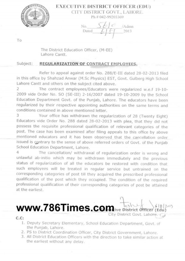 Reject Case of Regularization from date of B Ed of 28 Teachers in Lahore