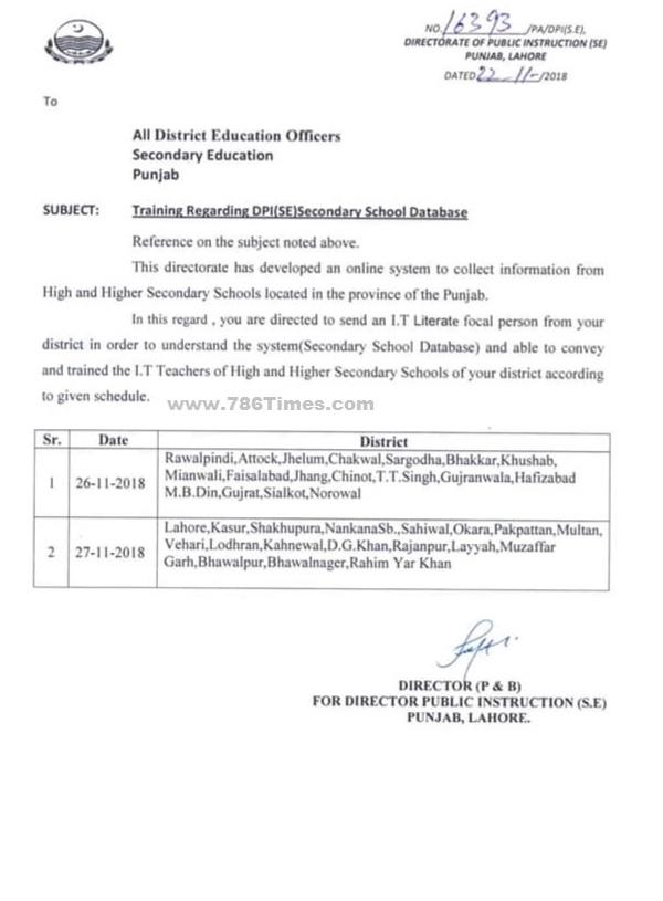 Training Regarding DPI SE Secondary Schools Database in Punjab