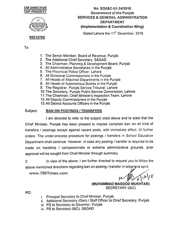 Complete Ban on Transfer and Posting in Punjab