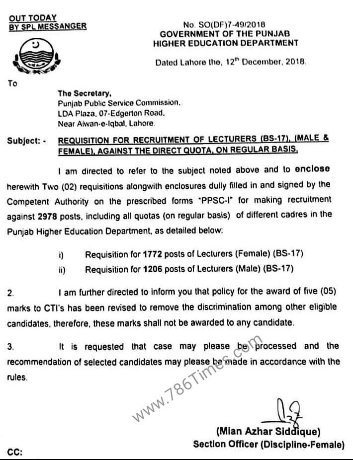 REQUISITION FOR RECRUITMENT OF LECTURERS (BS-17) AGAINST THE DIRECT QUOTA ON REGULAR BASIS