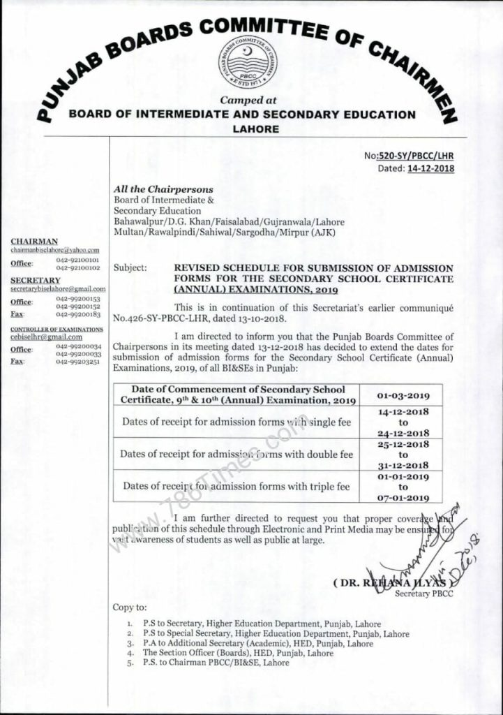 REVISED SCHEDULE FOR SUBMISSION OF ADMISSION FORMS FOR THE SSC (ANNUAL) EXAMINATION 2019