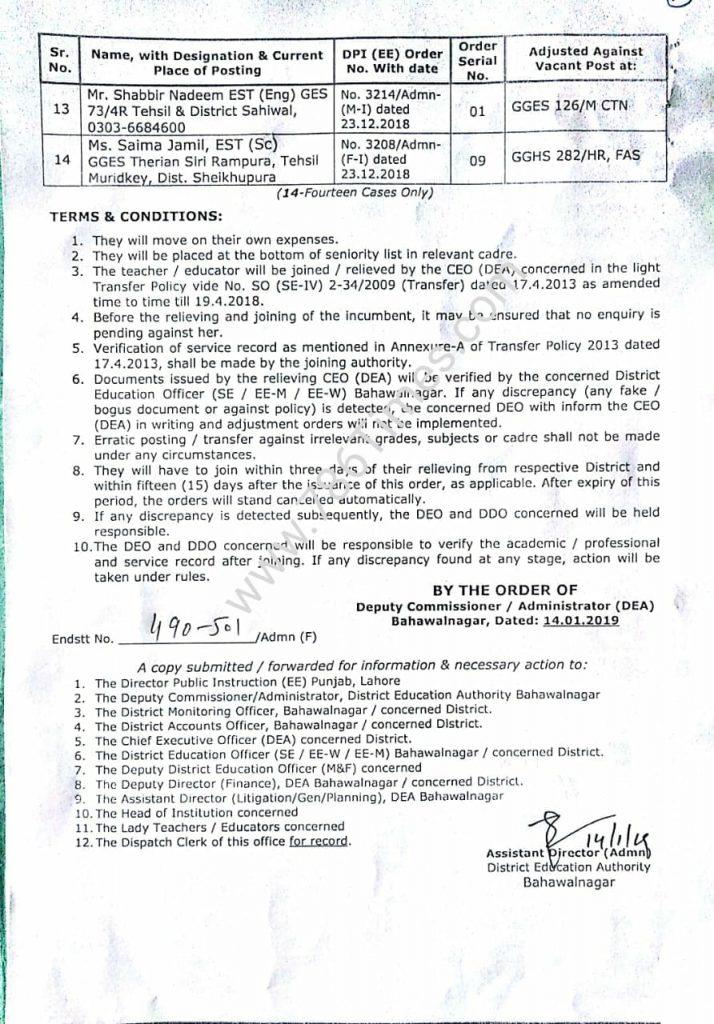 INTER DISTRICT TRANSFER ADJUSTMENT ORDERS of EST in Bahawal Nagar
